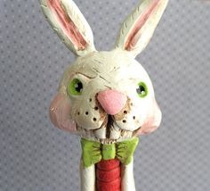 Easter Folk art Bunny Boy on Vintage Spool in Red by indigotwin, $32.00