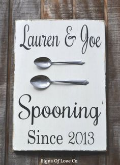 Personalized Spooning Since Wedding Sign Kitchen Decor Anniversary Gift