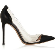 Gianvito Rossi Leather and PVC pumps (8.423.735 IDR) ❤ liked on Polyvore featuring shoes, pumps, heels, gianvito rossi, sapatos, black, black leather shoes, black pumps, clear heel pumps and clear pumps