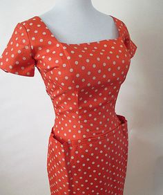 Sassy 1950's Silk polka-dot Dress with fish tail by wearitagain