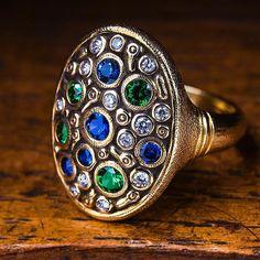 Constellation ring with sapphires, tsavorites and diamonds. • • • • • #alexsepkus #jewelry #jewelrydesigner #jewelrydesign #jewelryaddict…