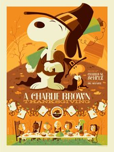 """2012 Officially licensed Peanuts Limited Edition """"A Charlie Brown Thanksgiving"""" prints avail next Tues, 10/2 at http://www.darkhallmansionstore.com/"""