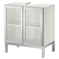 LILLÅNGEN Sink base cabinet with 2 door - aluminum - IKEA - to create storage around pedestal sinks