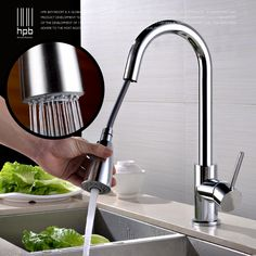 HPB Pull Out Kitchen Faucet Mixer Tap Rotatable Single Handle Sink Faucet Brass Chrome/Brushed Finish Hot and Cold Water HP4104 kitchen design * AliExpress Affiliate's Pin. Offer can be found by clicking the image