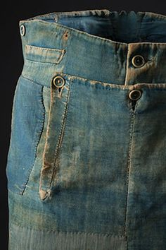 Men's work pants, denim and brushed cotton, circa 1840, USA, museum purchase, P86.64.3