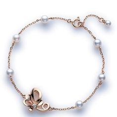 18K Pink-Gold Akoya Pearl Bracelet with Diamonds - Fashion Jewelry Charms