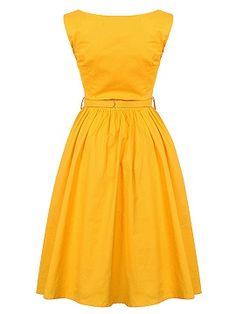 Shop Yellow Vintage Sleeveless Midi Dress from choies.com .Free shipping Worldwide.$16.9