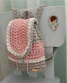 """New Cheap Bags. The location where building and construction meets style, beaded crochet is the act of using beads to decorate crocheted products. """"Crochet"""" is derived fro Crochet Backpack Pattern, Bag Crochet, Crochet Clutch, Crochet Handbags, Crochet Purses, Cute Crochet, Crochet Hats, Pinterest Crochet, Yarn Bag"""
