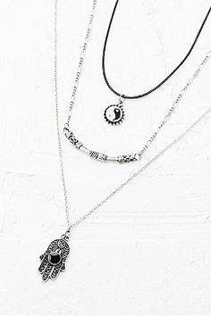 Yin Yang Hamsa Layering Necklace - Urban Outfitters was got off New Wardrobe, Urban Outfitters, Layers, Jewelry Accessories, Jewels, Boho, Crystals, My Style, Silver