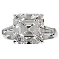 7.15 Carat GIA Cert Square Emerald Cut  Diamond Ring | See more rare vintage Three-Stone Rings at http://www.1stdibs.com/jewelry/rings/three-stone-rings
