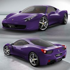 I will never own a Ferrari but how pretty is it in the color purple. Whoa Baby!! How this baby would command attention coming down the road.