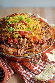 Chili Cheese Dog Dip - grd beef, bacon, grn. pepper, onion, celery, garlic, tomatoes, jalapeno (leave seeds it you like it spicy), hot dogs, kidney beans, green onions, various spices.