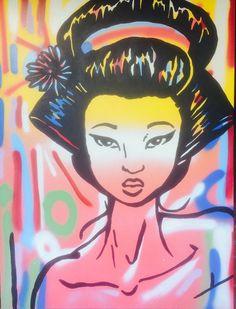Geisha No More by McDonald | PLATFORMstore. Acrylic and Enamel on Canvas