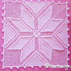 """Square em crochê com motivo """"flechas"""" e ponto pipoca, para confecção de colchas ou outros trabalhos similares"""