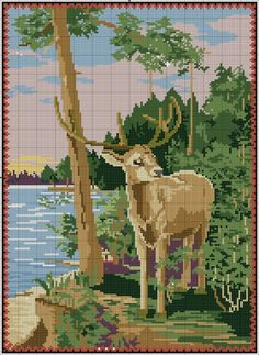 Gallery.ru / Фото #2 - Олень - Kalla Elephant Cross Stitch, Cross Stitch Bird, Cross Stitch Animals, Cross Stitch Designs, Cross Stitching, Cross Stitch Embroidery, Cross Stitch Patterns, Phad Painting, Blackwork Patterns