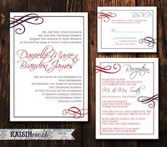 3PC: Wedding Invitation, Reception Card, RSVP Card - Red and Purple Flourish - PRINTABLE