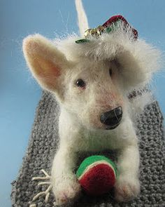 Needle felted English Bull Terrier sculpture by Robin Joy Andreae.
