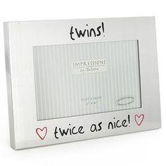 Twins Twice as Nice Silver Photo Frame   #babyphoto #photoframe #doubleframe #twin