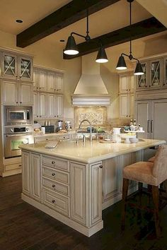 Nice 48 Incredible French Country Kitchen Design Ideas. More at https://trendecorist.com/2018/02/12/48-incredible-french-country-kitchen-design-ideas/