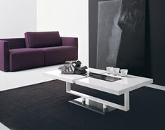 Amazing Purple Sofa Plus Black Area Rug Mixed With Modern White Living Room Table Design