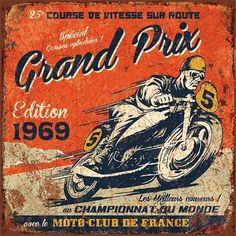 Vintage Motorcycles Classic Art Print: Grand Prix 1969 by Bruno Pozzo : - Bike Poster, Motorcycle Posters, Motorcycle Art, Vintage Labels, Vintage Ads, Vintage Posters, Retro Ads, Vintage Motorcycles, Vintage Motocross