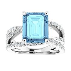 Most Popular Engagement Rings, Engagement Ring Styles, Platinum Wedding, Gold Platinum, White Gold Wedding Bands, Aquamarine Blue, Prong Set, Emerald Cut, Fashion Rings