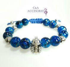 3bf496217e7a Pulsera para Hombre en Murano Azul brillante