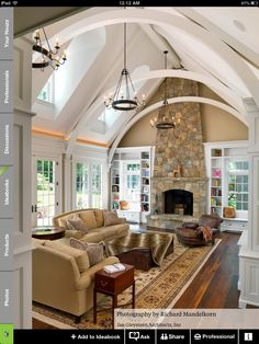 I Love Unique Home Architecture. Simply stunning architecture engineering full of charisma nature love. The works of architecture shows the harmony within. Style At Home, Home Living Room, Living Spaces, Living Area, Barn Living, Cozy Living, Small Living, Modern Living, Family Room Design