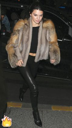 Kendall Jenner's best outfits ever: brown fur coat, black leather pants