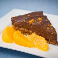 Chocolate & orange ganache torte. No bake and vegan friendly. Healthier dessert