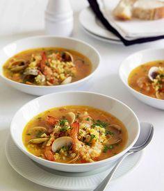 SUMMER SOUPS Seafood and saffron soup