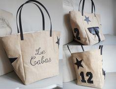 """Grand sac cabas """"Le Cabas 12"""" toile de jute, simili cuir, beige, noir, marron, broderie : Sacs à main par miss-coopecoll"""