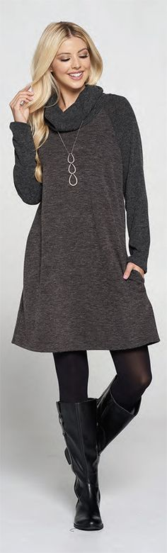 Mia Cowl Neck Dress - Made in USA by Accent Accessories