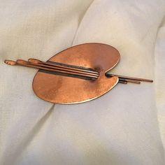 Vintage Renoir copper artist's palette brooch Statement piece in trendy copper Jewelry Brooches