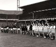 Sport/Football, 1966 World Cup Finals, Quarter Final, Goodison Park, England, 23rd July 1966, Portugal 5 v North Korea 3, The Portugal team (left) and North Korea team wave to the crowd before the kick-off, At one time during the game a major shock looked possible as the North Koreans had established a 3-0 lead in the first half, but Portugal, with Eusebio scoring four goals turned the game around.