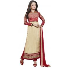 Straight Suits in Georgette Fabric Red & Beige