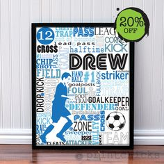 Personalized Soccer Typography Custom Decor Poster Art - Coachs Gift - Soccer Team Print - 11 x 14. $22.00, via Etsy.
