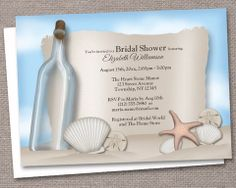 Message from a Bottle Beach Bridal Shower Invitations – Artistically Invited