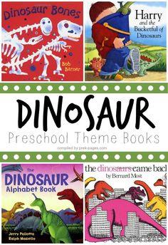 Preschool Dinosaur Theme Books. Great book list to use for your dinosaur theme in preschool or kindergarten.