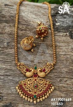 Exclusive 1 gram jewellery neck sets at elegantafshionwea. 1 Gram Gold Jewellery, Gold Temple Jewellery, Gold Jewellery Design, Gold Jewelry, Gold Bangles, Antique Jewelry, Gold Necklaces, Dainty Jewelry, Handmade Jewellery