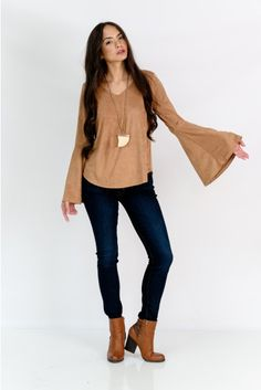 Shay Bell Sleeve Top $42, fabrikstyle.com #suede #tops