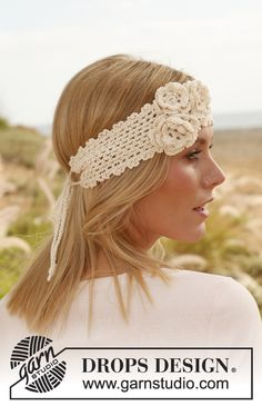 """Beautiful and has a vintage feel to it! Free Crochet Pattern DROPS Design head band with flowers in """"Safran."""" for baby make all the way with no tie"""