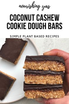No Bake Coconut Cashew Cookie Dough Bars | Vegan & Gluten Free | Nourishing Yas - Simple Plant based Recipes #vegan #veganrecipes #healthy #healthyrecipes #dessert #nobake #glutenfree #chocolate #cookiedough #plantbased