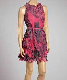 Love this Pink Leopard Pleated Sleeveless Dress by STYLE on #zulily! #zulilyfinds