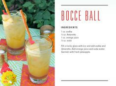 A cocktail called the Bocce Ball! I don't know if it's any good, but that would be such a fun idea for a signature drink!