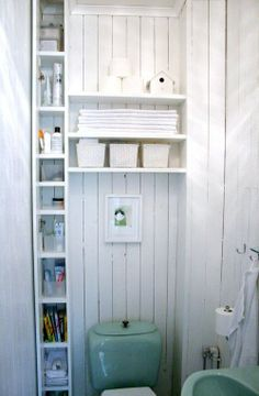 You wouldn't think such a narrow shelf would be good storage... clearly in a bathroom its perfect!