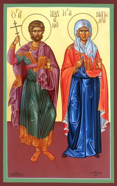 These were two members of a group of five Christians martyred at Cordoba in Spain, by the Muslim Emir Abd ar-Rahman II in about Aurel. Greek Icons, Church Icon, Christian Families, Art Icon, Orthodox Icons, Anime Fantasy, Roman Catholic, Religious Art, Christianity