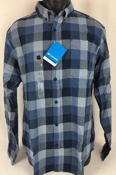 NWT COLUMBIA Shirt Men's OUT AND BACK II Flannel Long Sleeve Blue Plaid Large #Columbia #ButtonFront