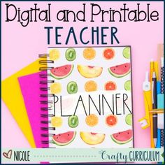 Stop purchasing yearly planners and build your own with this one! This Fruit Rae Dunn font style planner is perfect and simple for all of your planning needs. This is dateless so you can use it year after year and will not need to purchase again! Teacher Planner, Teacher Organization, Activity Days, Yearly, Build Your Own, Lesson Plans, Planners, Curriculum, Things To Come