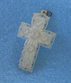 Antique Cross Carved Religious Jewelry Mother of Pearl.